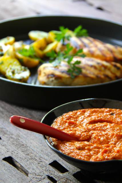 Grilled Chicken with Romesco Sauce and Saffron – Parsley Potatoes