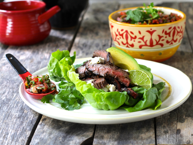 "Skirt Steak Lettuce ""Tacos"" with Charred Tomato Salsa"