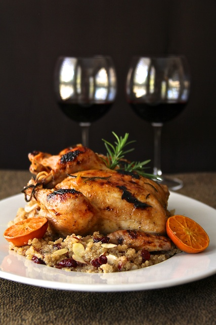 Cornish Game Hens with Clementine Glaze and Cranberry – Almond Quinoa Pilaf