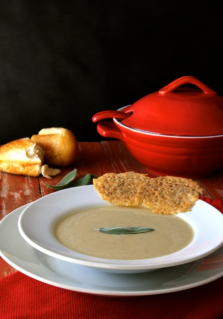 Tuscan White Bean Soup with Parmesan - Peppercorn Crisps