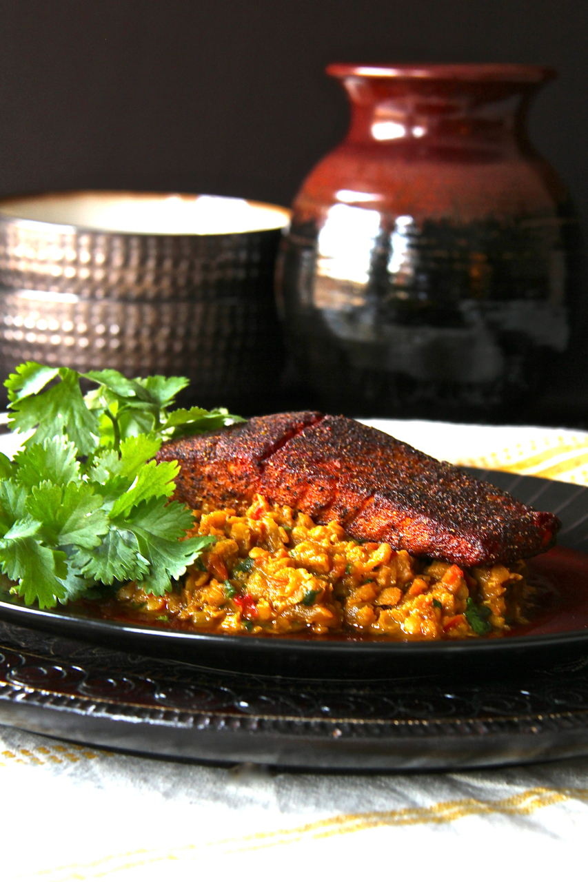 Seared Spice-Rubbed Salmon with Curried Red Lentils