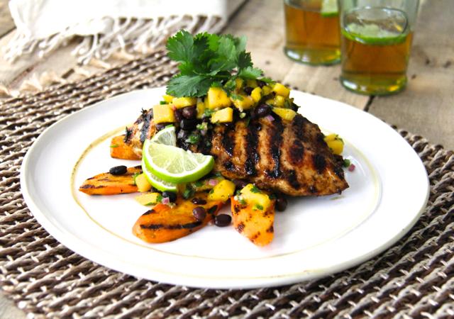 Jamaican Jerk-Style Chicken with Black Bean - Mango Salsa