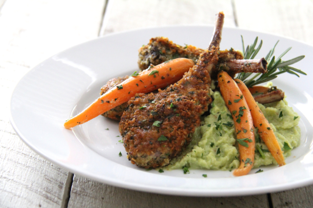 Parmesan and Herb-Crusted Lamb Chops with Lima Bean Puree